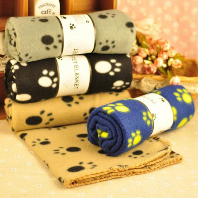 Lovely Pets Mat Soft Warm Fleece Paw Print Design Pet Puppy Dog Cat Mat Blanket Bed Sofa Pet Warm Product Cushion Cover Towel 1