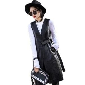 Image 5 - Женский длинный жакет из натуральной кожи, черный облегающий тренчкот из натуральной овечьей кожи с поясом, уличная одежда для лета, 2019