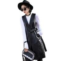 Women Black Genuine Leather Vest Jackets 2018 Summer Fashion Belt Slim Real Lambskin Leather Long Trench Coat Streetwear Ladies