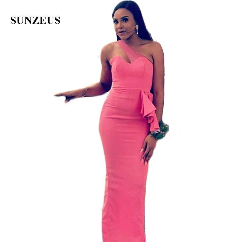 One Shoulder Pink Satin   Bridesmaid     Dresses   African Girls Wedding Guest   Dress   Long Peplum Ruffles vestido longo rosa SBD175