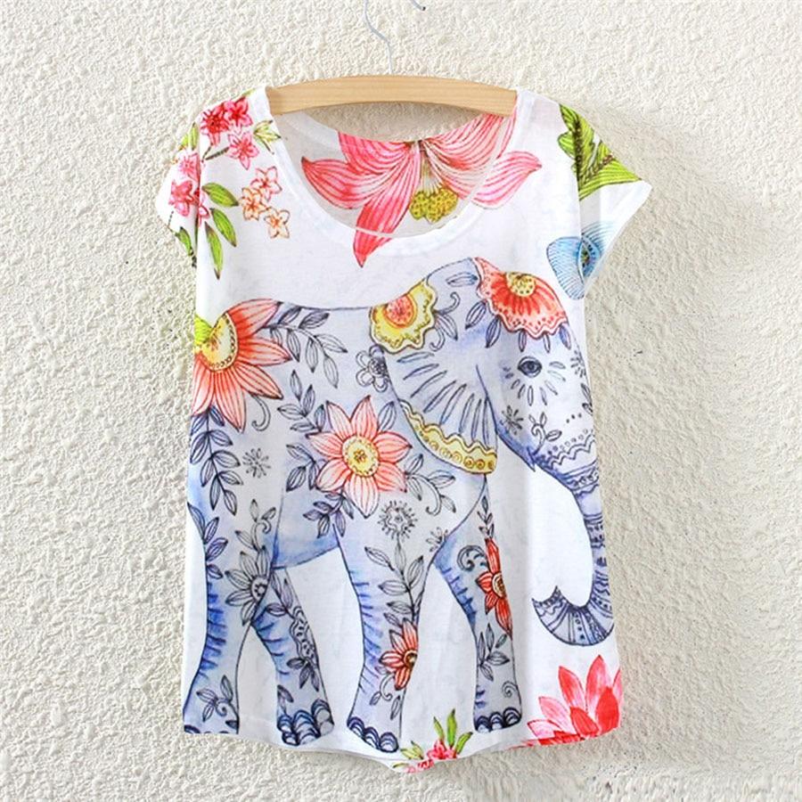Fashion 2016 Summer Tee Shirt Women T-shirt Elephant Animal Print batwing Short Sleeve White t shirt Women Tops
