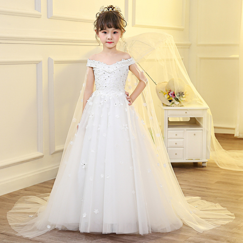 Holy Communion Dress for Kids Girls Princess Dress Long Trailing Flower Girl Dresses for Wedding Off the Shoulder Party Gowns K trendy see through off the shoulder long sleeve lace blouse for women