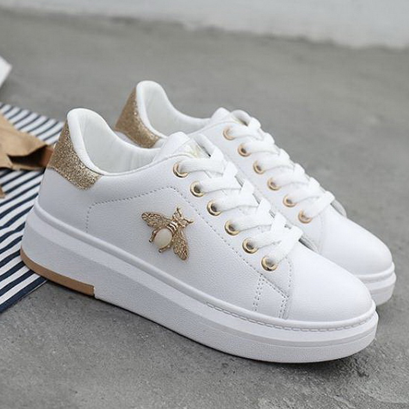 Women Casual Shoes 2019 Autumn Women Leatherwear PU Sneakers Gold Breathable Women Flats Lace-Up Height Increathable Women Sport