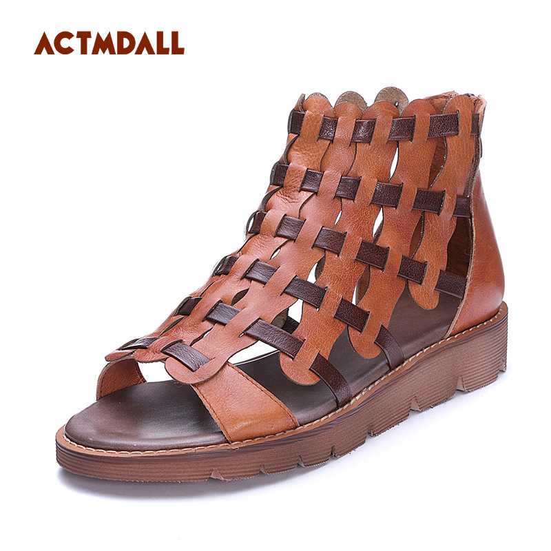 2018 handmade leather woman sandals flat with Rome shoes woven flat bottomed hollowed women's sandals Actmdall woven design straw flat sandals