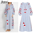 Long Dress Bohemian Embroidered Vestido Loose Cotton  Vintage Dress   Linen Dress Lantern Tshirt