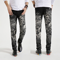 Primavera 2017 Dos Homens Quentes Jeans designers 3d Magro Lobo dos homens calças de brim Calças dos homens Calças Masculinas calças de Brim Longas Calças Pretas
