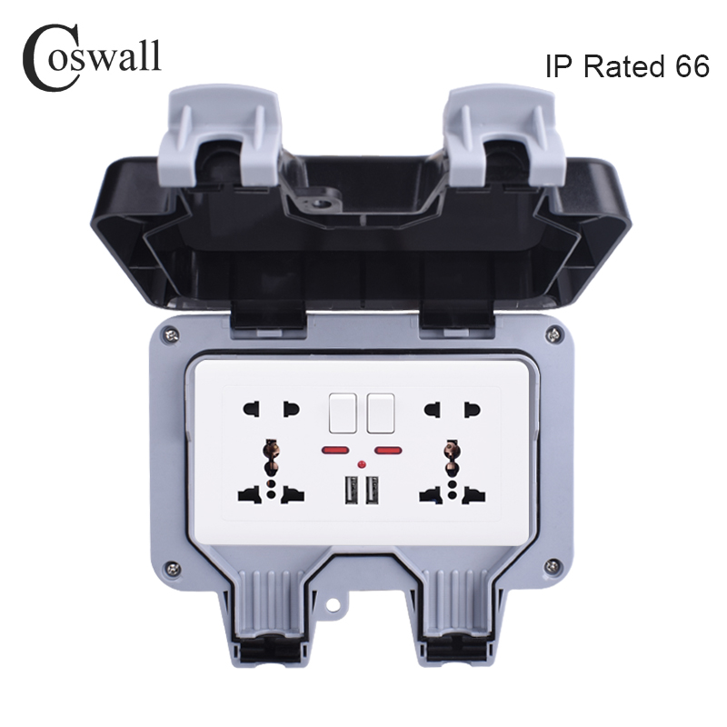 Coswall IP66 Weatherproof Waterproof Outdoor BOX Wall Socket 13A Double Universal / UK Switched Outlet With USB Charging Port