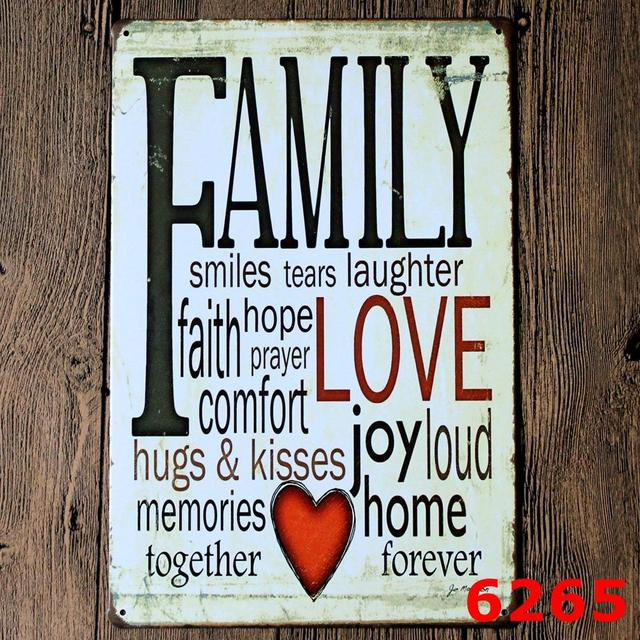 US $9 99 |20*30 CM Love Joy Smiles Family Poem Vintage Tin Sign Tavern Bar  Pub Club Home Cafe Wall Decor Metal Art Poster Plaque-in Plaques & Signs