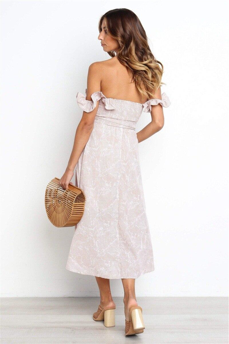 Backless Sexy Women Summer Dress 19 Ruffles Off Shoulder Beach Dress Buttons Strapless Long Sundress Boho Midi Dress Ladies 7