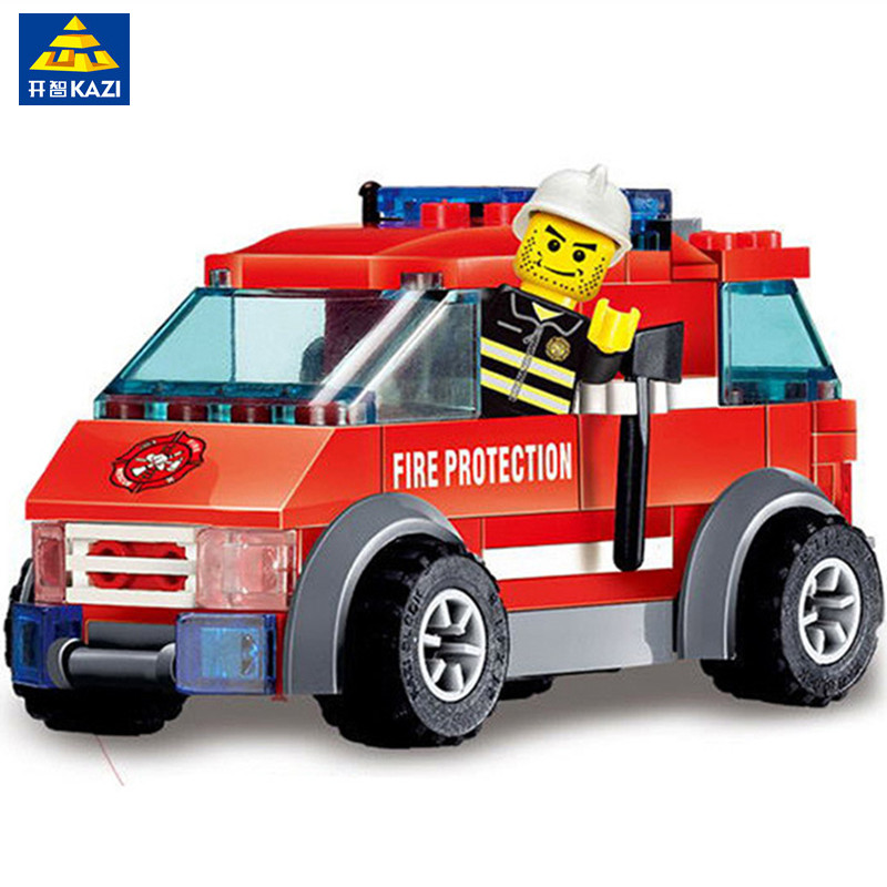 KAZI Fire Truck Toy Vehicle Model Building Blocks Brinquedos Playmobil Toys for Kids Intelligence Bricks
