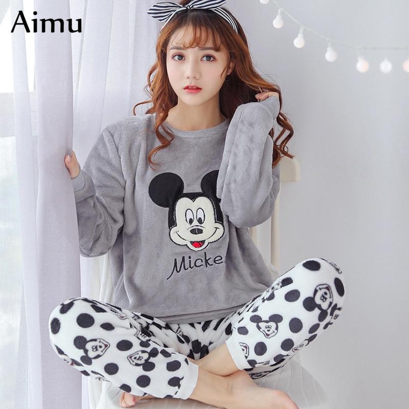 Winter Flannel Women Pajamas Gray Cartoon Pajama Set Casual Home Wear Long Sleeve Pijama Mujer Kawaii Sleepwear Womens Pyjamas