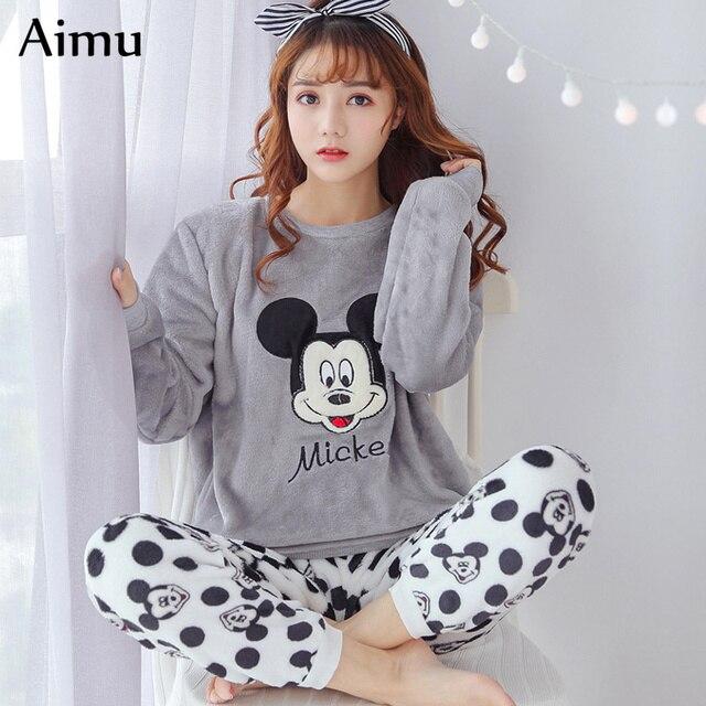 winter Flannel Women Pajamas gray cartoon Pajama Set casual Home Wear Long  Sleeve Pijama mujer kawaii Sleepwear Womens Pyjamas ec6d769709