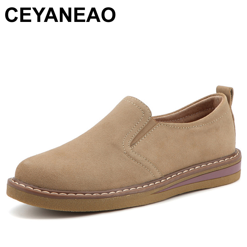 CEYANEAO2018New Autumn women flats shoes women slip on loafers   suede   Genuine   Leather   shoes handmade Round Toe boat shoesE1207