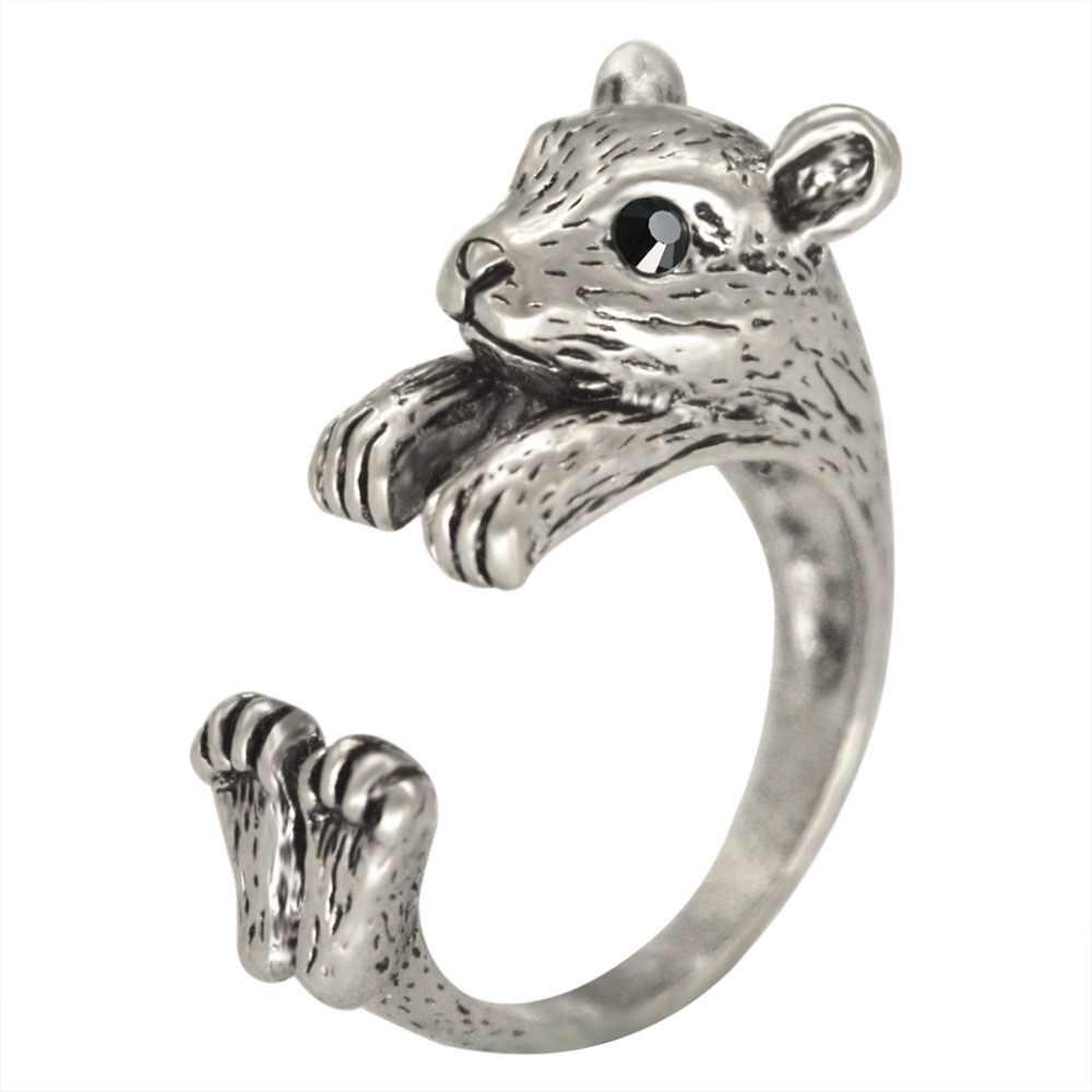 Qiamni Adjustable Anel BoHo Chic Hippie Mouse Hamster Hewan Mid Jari Cincin Pesta Hadiah untuk Wanita Wanita Fashion Unik Perhiasan