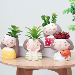 Criativo menina vaso de flores suculenta planta casa jardim bonsai resina vaso flores presentes para crianças decoração do ano novo