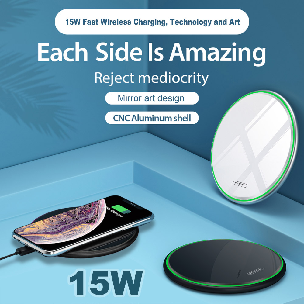 FDGAO 15W Fast Qi Wireless Charger For Huawei P30 pro Samsung S9 S10 iPhone X XS MAX XR 8 Plus QC 3 0 10W Wireless Charging Pad in Wireless Chargers from Cellphones Telecommunications