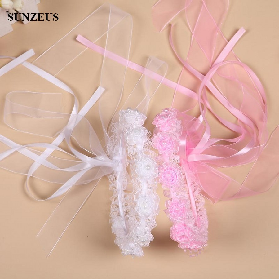 Girl Veils Beautiful Pearls Lace Flowers Garland Children Hair Accessories For Birthday Party Cute Headband With Ribbons BV-059