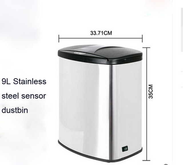 Office Sensor Dustbin Auttomatic Small Capacity 9l Trash Can Garbage Bin Wastebin Ashcan Ash