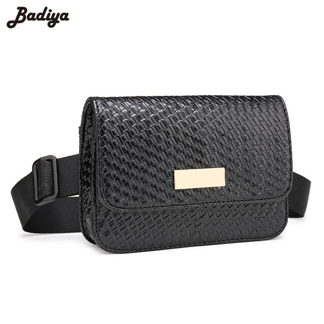 Brief Design Women Men Waist Bag Anti-Theft Bags Fashion PU Leather Woven Bumbag Famous Brand Male Small Belt Waist Pack