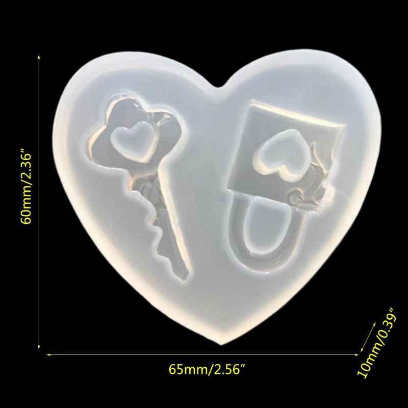 قالب من السيليكون DIY صنع المجوهرات الايبوكسي الراتنج مفتاح قفل القلب على شكل مرآة الديكور اليدوية زخرفة قلادة قلادة