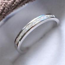 Твердое 925 пробы Серебряное кольцо из белого золота установка цвета 0.55Ct принцесса огранка синтетические бриллианты кольцо для юбилея