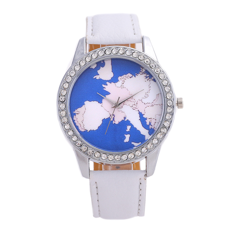 New Fashion Brand Women Watches Wear Jewelry World Map Pointer Stainless Steel Zircon Dial Solid Color Leather Strap Casual
