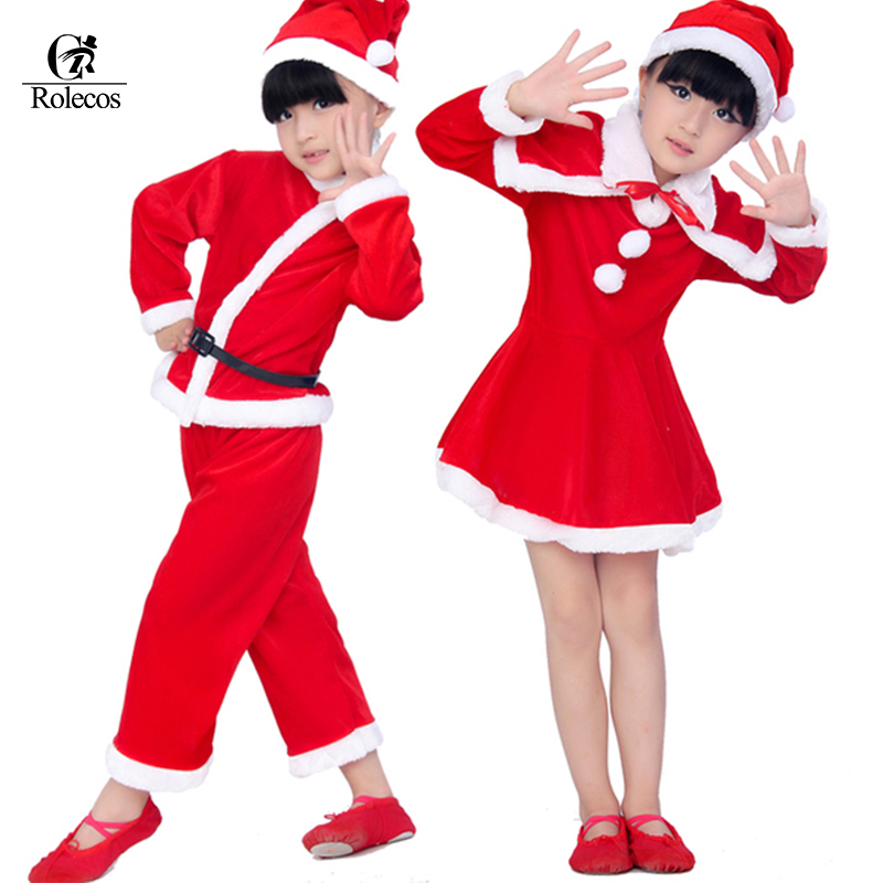 New Year Baby Red Boy Girls Christmas Santa Claus Costumes For Kids Children