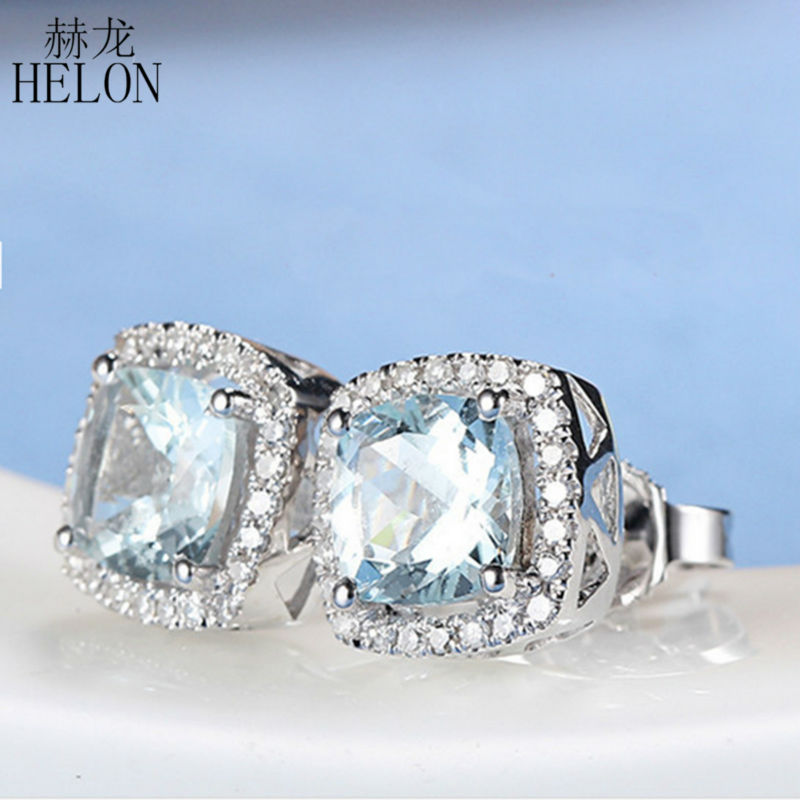 HELON Solid 14K White Gold 6mm Cushion Aquamarine earrings for women Natural Diamonds Stud Earrings Exquisite Wedding Jewelry