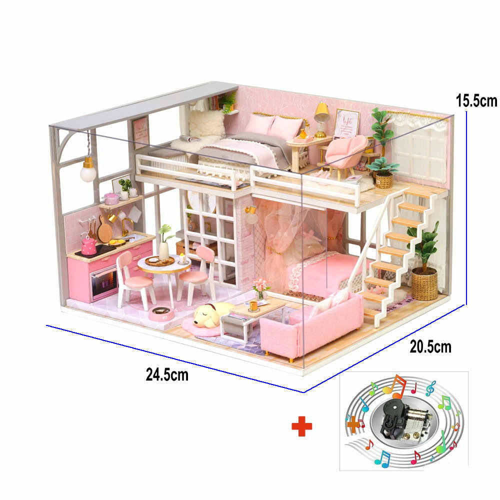 Wooden doll house diy miniature dollhouse girlish dream loft model toy house girls toys for children