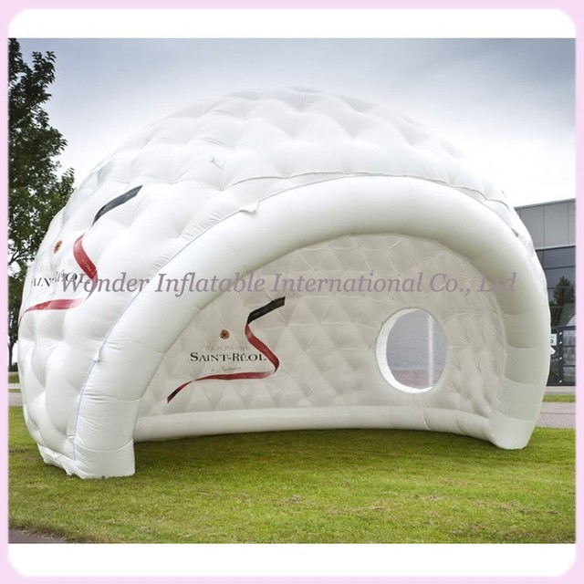 2016 hot sale white inflatable igloo tent outdoor inflatable dome tent customized golf tent with clear windows for events
