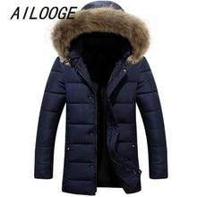 AILOOGE 2017 Fashion Men'S Thick Warm Casual Fur Collar Down Coat Men Windproof Hooded white Duck Down Jacket Men Parkas