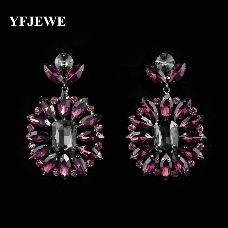 YFJEWE New Arrival hot selling Big fashion high quality crystal rhinestone jewelry earrings punk drop earrings for women E007