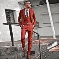 New Custom Made Orange Men Wedding Suit 3pieces(Jacket+Pants+Vest+Tie) Slim Prom Masculino Trajes De Hombre Blazer