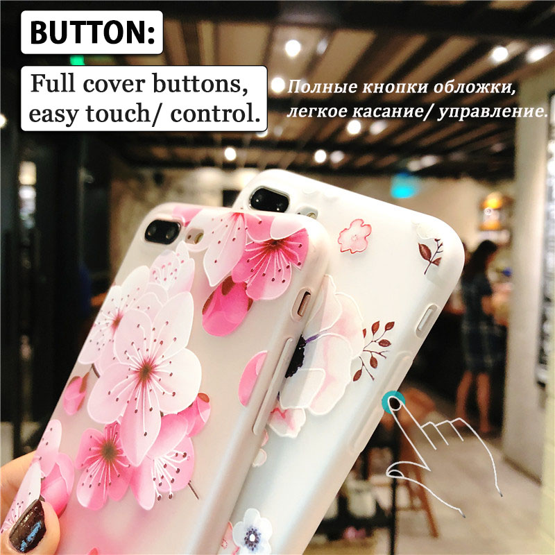 KIP7P1152_3_Flowers Pattern Soft TPU Case for iPhone 7 Plus