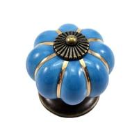 12Pcs Pumpkin Zinc Ceramic Door Knobs Drawer Pull Handle Kitchen Cabinet Cupboard Wardrobe Blue