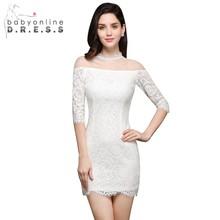 Half Sleeve Lace Mini Short Prom Dresses Sheath Sheer O Neck Cheap Party Dress Zipper Up
