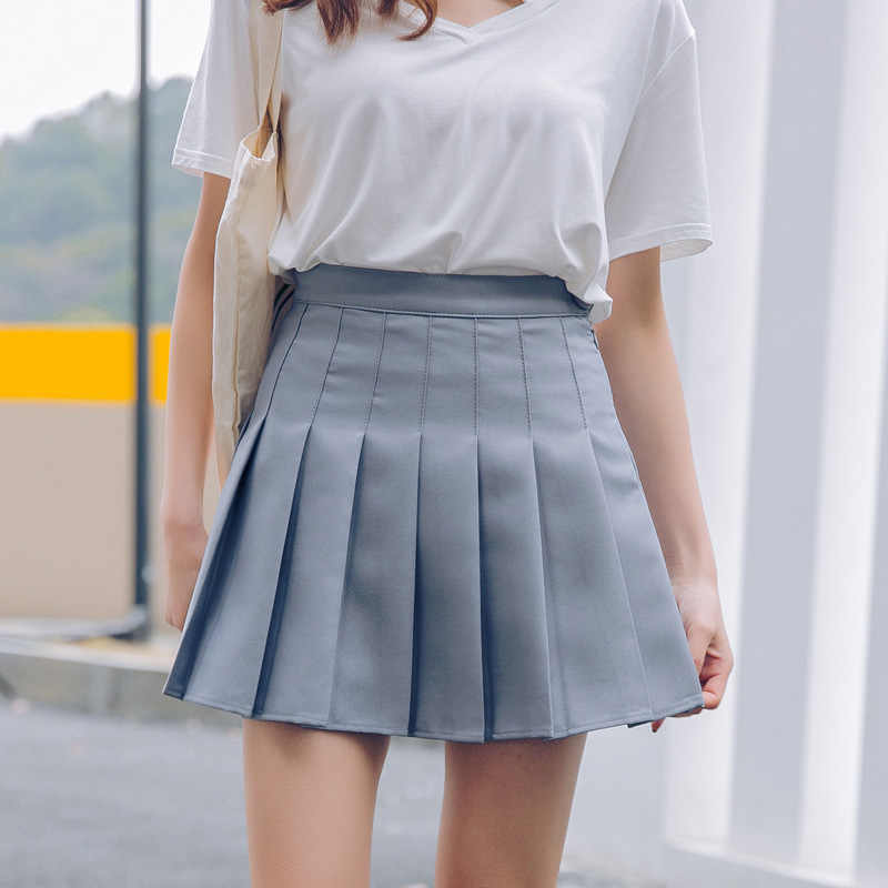 Verano sólido Color dulce tamaño cremallera falda mujeres falda de cintura  alta lindo Mini falda Harajuku e4ed86feb2dd