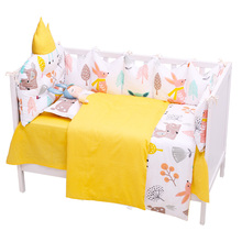 5 pcs/set Baby Bed Set Infant Crib Bedding Set Toddler Cotton Cot Kits For Boys Girls Newborn Bedding Bumpers Kid Room Bed Sheet