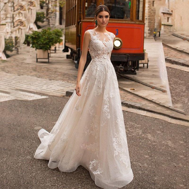 Scoop Neck Wedding Dresses Elegant Lace Appliques Floor Length Backless Vintage Bridal Gown Vestido de Noiva