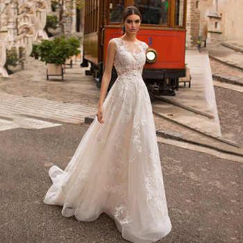 Scoop Neck Wedding Dresses Elegant Lace Appliques Floor Length Backless Vintage Bridal Gown Vestido de Noiva - DISCOUNT ITEM  15% OFF All Category