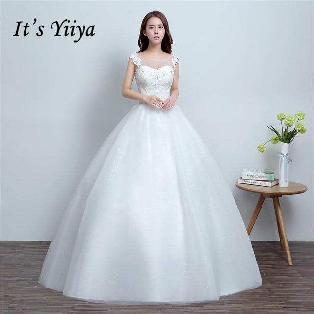 Es yiiya 2017 verano blanco popular Vestidos de novia Shining ...