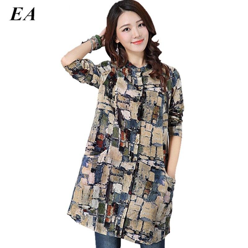 Blouse feminina 2016 linen big dress shirt female ladies for Long linen shirts for womens