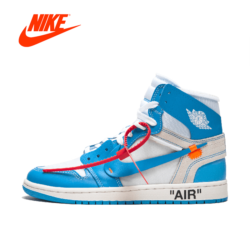 Original New Arrival Authentic NIKE Air Jordan 1 X Off-White Men's Basketball Shoes Sport Sneakers AJ1 Good Quality AQ0818-148 баскетбольные кроссовки nike air jordan air jordan retro hi og laser aj1 705289 100