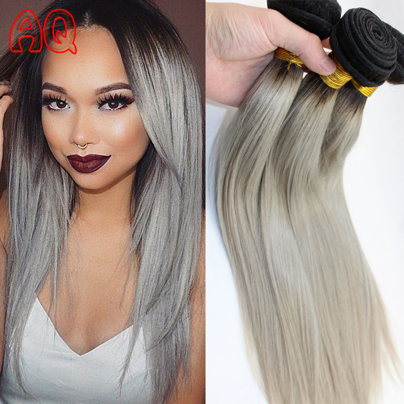 Silver hair extensions ombre grey hair weave color two tone human silver hair extensions ombre grey hair weave color two tone human hair weave platinum 1b grey virgin brazilian straight hair 3pc in hair weaves from hair pmusecretfo Images