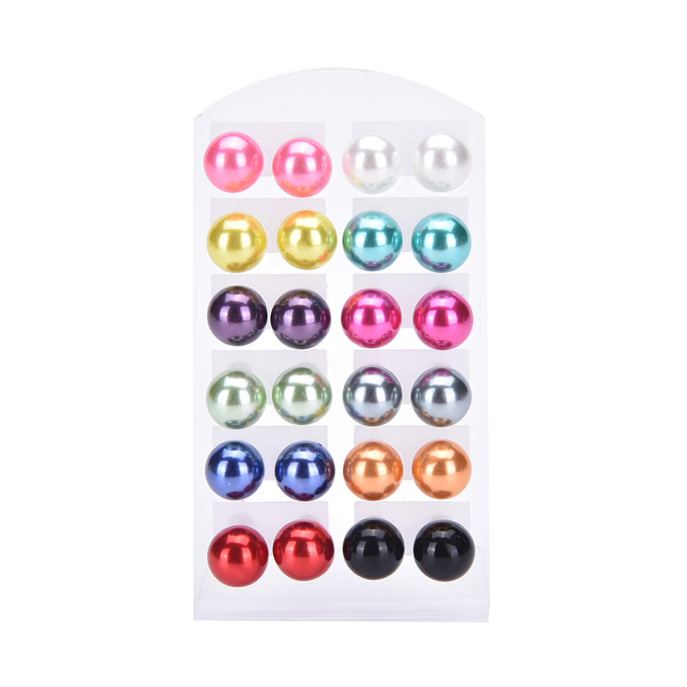 Diplomatic 12 Pairs/set Simulated Pearl Stud Earrings Set Jewelry Accessories Piercing Ball Earrings Kit Bijouteria Brincos For Women Durable In Use Earrings