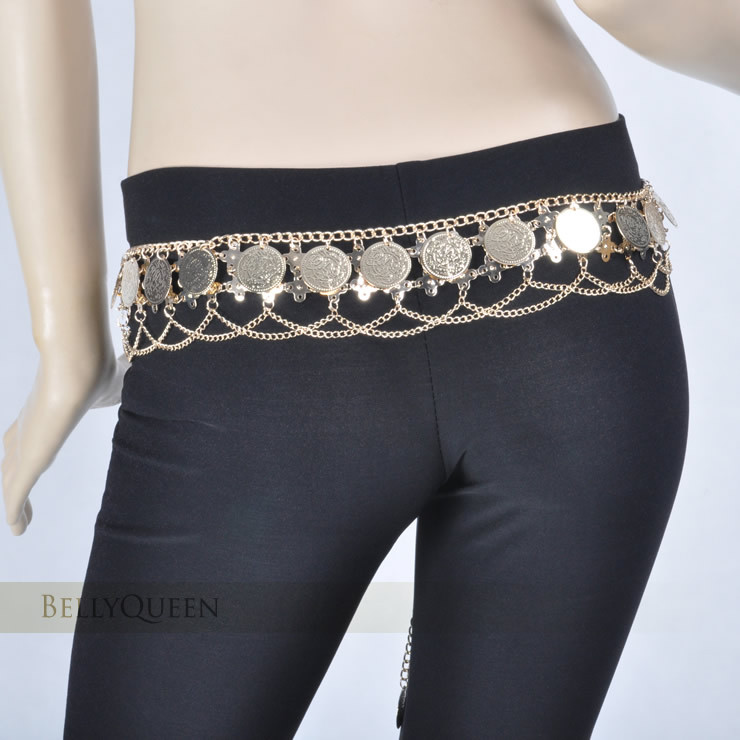 New Belly Dance Gold Coins Costume Hip Scarf Tribal Egyptian Coin Hip Belt Skirt