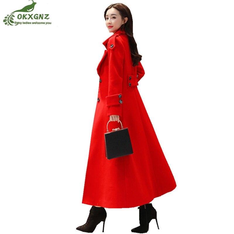9f16e3319e8f77 À Parka Manteau Femelle Automne Grand Long Femmes Taille Rouge Laine ...