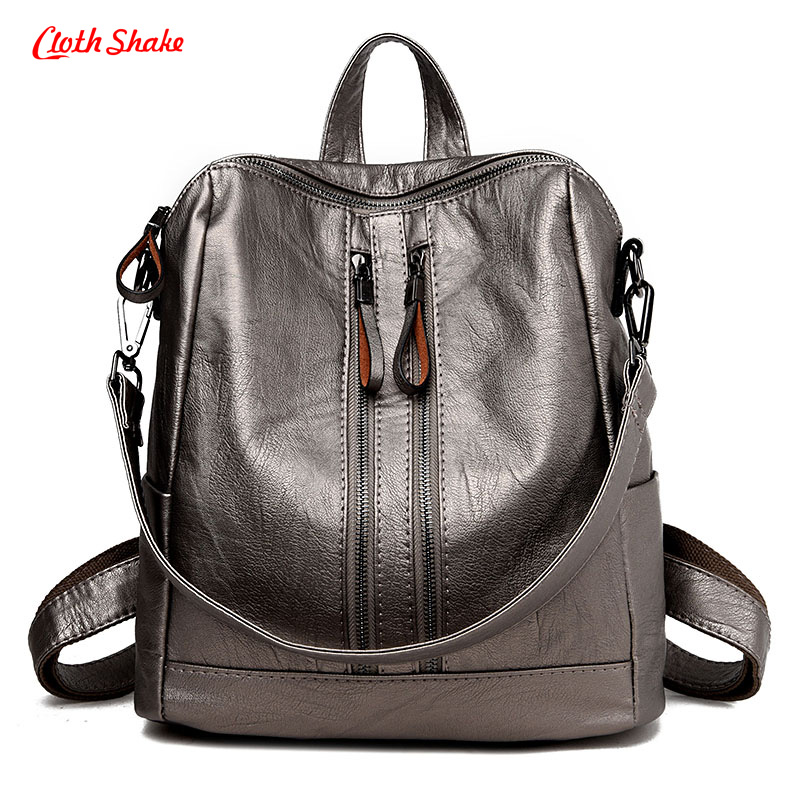 Cloth Shake Backpack Women PU Leather Bag Women Bag Backpack Mochila Feminina School Bag For Teenagers Softback Free Shipping women backpack fashion pvc faux leather turtle backpack leather bag women traveling antitheft backpack black white free shipping