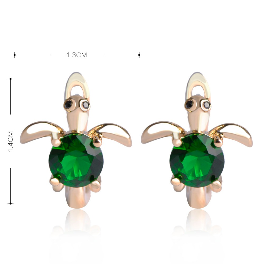 547111b461f Dazz Green Turtle Earrings For Women Gold Color Tortoise Stud Earring  Copper Zircon Green D Hooks Small Animal Ear Pendientes-in Stud Earrings  from Jewelry ...