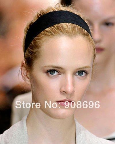 12X Unisex Ski Stretch Plain Headbands Hair Hoop Black Approx 2